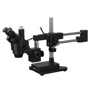 Amscope 7x 90x Trinocular Stereo Zoom Microscope Double Arm Boom Stand