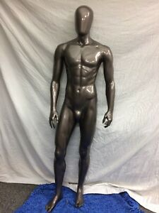 Full Size Male Mannequin Removable Arms Legs Used Dark Gray Metallic W head