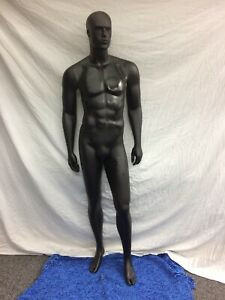 Male Full Body Mannequin With Head Matt Black Finish Removable Arms