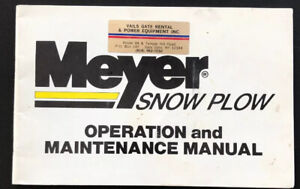 Meyer Snow Plow Operation And Maintenance Manual Parts Products Cleveland Oh