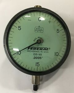 Federal Ids 183 Dial Indicator With Flat Back 0 075 Range 0005 Graduation