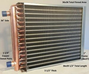 36x36 Water To Air Heat Exchanger 1 1 4 Copper Ports With Install Kit
