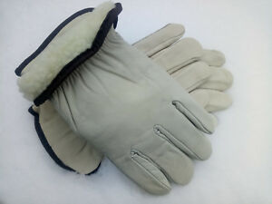 6 Pairs Mens Top Grade Leather Work Gloves Size Xl Fleece Lined For Winter