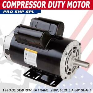 5 Hp Spl 3 5hp Air Compressor Duty Electric Motor 56 Frame 3450 Rpm 1 Phase Aa