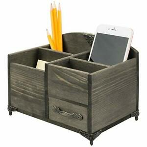 Mygift Distressed Brown Wood Office Supply Desktop Organizer With Metal Accents