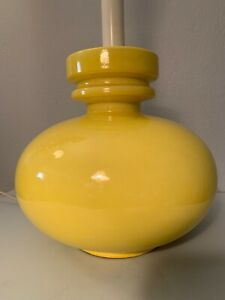 Mid Century Danish Modern Ceramic Yellow Table Lamp 1960s