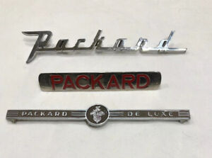 Vintage lot Of 3 1940 s 1950 s Packard Deluxe Emblems scripts ships Free