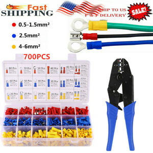 Crimping Tool Kit 0 5 6mm wire Pliers 700pcs Crimp Terminals Connectors 10 22awg