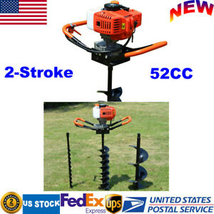 2 stroke 52cc Gas Powered Post Hole Digger Auger 4 6 8 Bits 12 Extension Bar