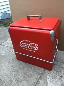vintage coca cola Ice Chest Cooler 12x19x19 Inch Tall Is Been Painted