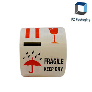 Fragile Keep Dry 4 Way Labels 4 X 4 Inch 500 Total Stickers On A Roll