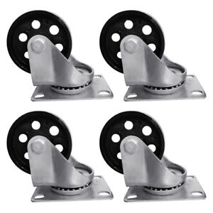 4pcs 3 5 Heavy Duty Steel Plate Cast Iron Casters Swivel Industrial Wheel 440lb