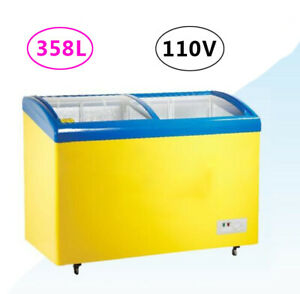 358l Horizontal Commercial Refrigerator Ice Cream Freezer Chest Curved Glass