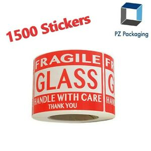 Fragile Glass Handle With Care Labels 2 x3 500 roll Shipping Labels