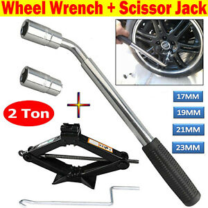 Car Tire Wheel Lug Wrench Scissor Jack Crank Speed Handle 2 Ton Lifting Garage