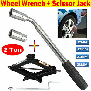 2 Ton Scissor Jack Wind Up Lifting Extendable Wheel Wrench For Car Van Emergency