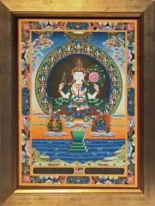 Antique Buddhist Thangka Tanka Silk Painting Mandala Tibet Nepal Gold Framed