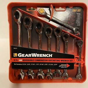 New Gearwrench 9533 8 Piece Sae Reversible Combination Ratcheting Wrench Set
