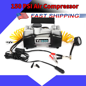 12v 150 Psi Heavy Duty Cylinder Air Compressor Car Auto Pump Tire Inflator