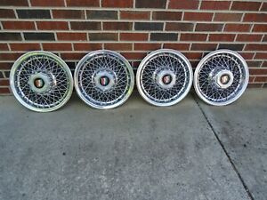81 82 83 84 85 Rwd Buick 4 Wire Hubcaps 15 Inch Super Nice