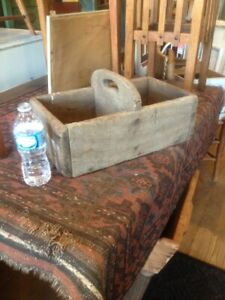 Antique Primitive Wood Old Farm Tool Nail Box Tote Carrier Gray Wooden Sq Nails