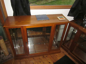 3 Solid Wood Display Cases Illuminated 1 Glass Shelf