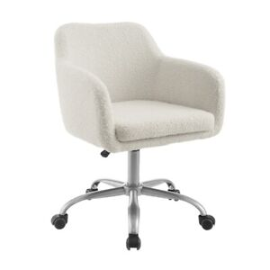 Linon Colton Sherpa Metal Upholstered Office Chair In Chrome