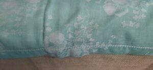 Vtg Damask Linen Tablecloth Turquoise 52 By 96 Rectangular