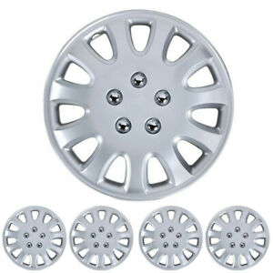 4pc Set 14 Inch Silver Hubcap Wheel Cover Oem Replacement Full Lug Skin Durable