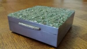 Vintage Silver Plated With Jade Top Jewellery Trinket Cigarette Cigar Box