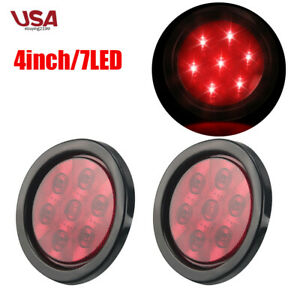 2pcs 4 Round 7 Red Led Marker Lights Car Bus Truck Stop Clearence Tail Lamp 12v