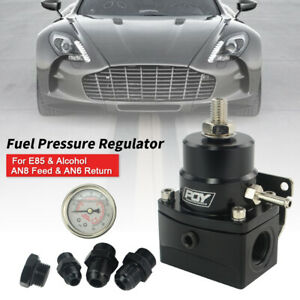 High Pressure An8 8 6 Fuel Inject Pressure Regulator With Gauge And Boost Black