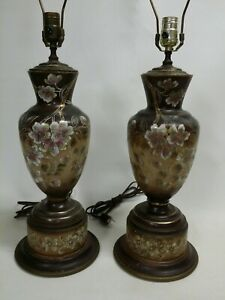 Vintage Mirrored Pair Of Oriental Floral Satsuma Moriage Porcelain Table Lamps