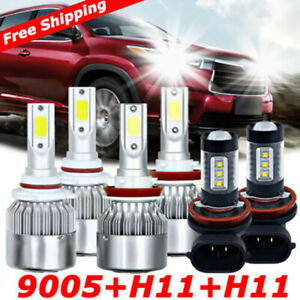 For Toyota Highlander 2011 2019 Combo Led Headlight High low Kit fog Light 6000k