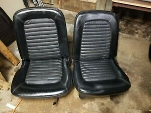 1965 1966 1967 Mustang Bucket Seats Black Coupe Fastback Convertible W Tracks