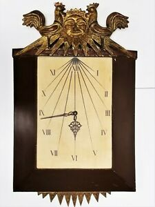 Rare Large Vintage Palladio Italy Gilt Wood Sunburst Rooster Wall Clock