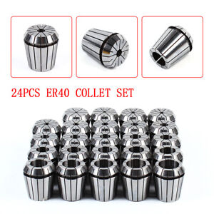 24pcs Er40 Precision Spring Collet Set Milling Lathe Cnc Chuck Bit Holder Tool