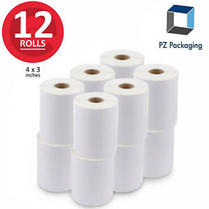 12 Rolls 4x3 Direct Thermal Labels Zebra Compatible Perforated 500 rl