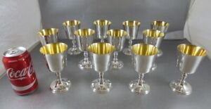 Rare Set Of 12 Asprey Sterling Wine Cups Or Goblets London 1972 60 Troy Ozs