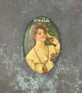 Vintage Coca Cola 1970 Repro Soda Pop Girl Advertising Mini Pocket Mirror