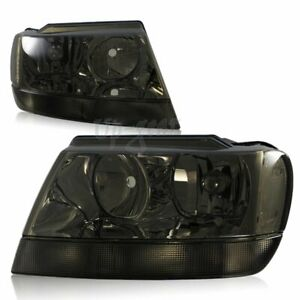For 1999 2004 Jeep Grand Cherokee Smoke Housing Clear Reflector Headlights