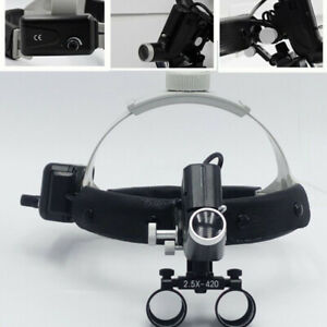 Surgical 2 5x420mm Led Leather Headband Head Light With Loupes Dy 105 Black Ent