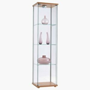Glass Sleek Tower Display Case With Top Led Light Height 63 5 Boutique Home