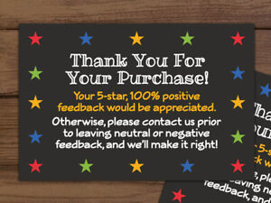 2500 Thank You For Your Purchase Stars Black Shipping Labels Stickers 2x3 3x2