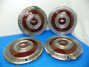 Vintage 1970 Chevrolet Monty Carlo Hubcaps 15 Red Chrome