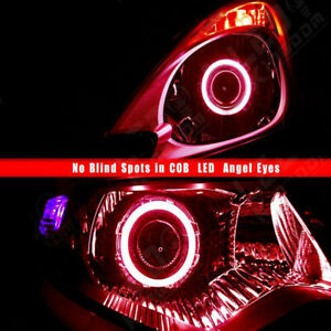 Pair Red 90mm Front Led Cob Angel Eyes Halo Ring Fog Driving Drl Light Headlight