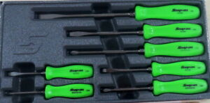 New Snap On 7 Piece Green Hard Handle Screwdriver Set Sddx70ag