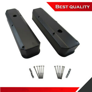 Suit Chrysler Mopar 340 360 Tall Valve Cover Aluminum Black Powdercoat Finish