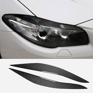 Carbon Fiber Headlight Eyebrow Cover Accessories For Bmw 5 Series F10 2010 2013
