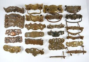 26 Antique Decorative Ornate Drawer Pull Back Plates Stamped Brass Copper Tin